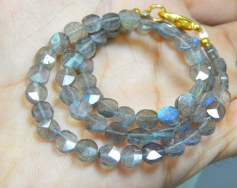 Blue Flash Labradorite gemstone Faceted Coin Beads Size 5.6x5.2mm Approx Code - 1010