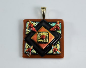 Fused Glass Pendant Black Orange Metallic Gold Caramel Glass Pendant Dichroic Glass Pendant