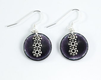 Sterling Silver Purple and Silver Metal Enamel Earrings Copper Penny Earrings Round Purple Earrings