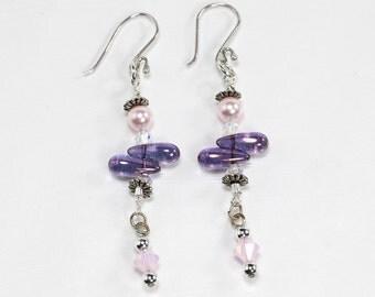 Sterling Silver, Purple, Pink & Crystal Earrings