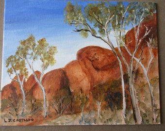 Red Centre painting, Uluru painting, original Australian outback painting, Acrylic original painting