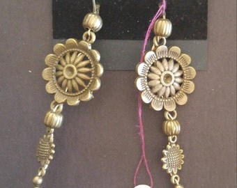 Long sunflower earrings