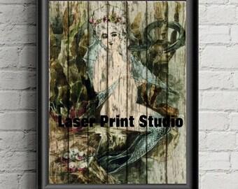 Mermaid Wall Art Print - Rustic Decor- Coastal Decor- Ocean Art- Mermaid Decor- Under The Sea- Nautical Decor- Bathroom Decor