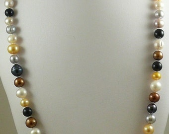 Freshwater Multi-Color Pearl Necklace, Earring & Bracelet Set w 14k White Gold