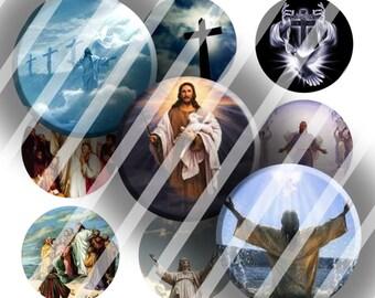 Digital Bottle Cap Collage Sheet - Christian Jesus - 1 Inch Circles Digital Images for Bottlecaps