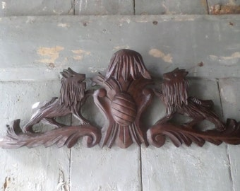 Antique French Pediment Fronton Wall Above Door Bed architectural salvage lions & blason sculpture dogs blason coat of arms shabby chic deco