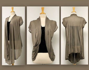 New Designer Asymmetric Hem Hi Low Cap Sleeve Shrug.