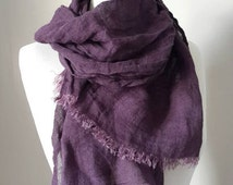 Purple Linen scarf - 100 % Linen scarf - Woman Spring scarf - Natural wrap - Men scarf - Organic Linen flax - Gift for Mother