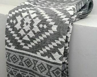 Bohemian beach blanket throw - Yoga Towel Mat in Grey Aztec - Indigo Authentic Fouta towel  - 100 % Cotton towel - Tribal towel throw
