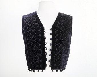 SMALL Vintage Cropped Bolero Vest - Size 4, Black Velvet, Matelasse, Fringe, Ethnic, Folk