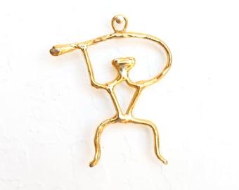 "Abstract Modernist Gold Figurative Pendant - Large 2.75"" - Brutalist, Art, Sculpture, Necklace"