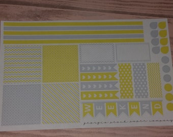 You Are My Sunshine- Gray and Yellow Themed Planner Stickers - Made to fit Horizontal Layout