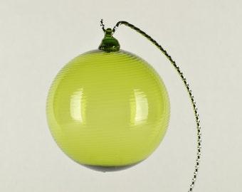 Hand Blown Glass Christmas Ornament Lime Green