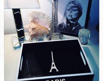 Black 'Paris' Tray with White Trim