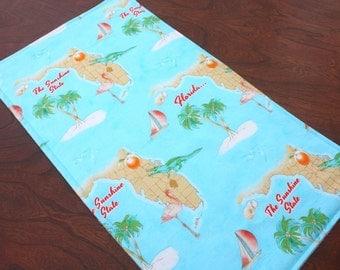 Florida Sunshine Baby Burp Cloth. Handmade Unique Baby Gift. Florida Gator Baby Shower Gift. Florida Map. Beach Burp Rag. Free Shipping.