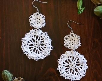 Café Hand Crocheted Dangle Earrings in White