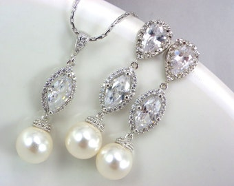 Bridal necklace and earrings set, Drop pearl Bridal Earrings, sterling silver cubic zircon jewelry, Bridal pearl Necklace and Earrings set