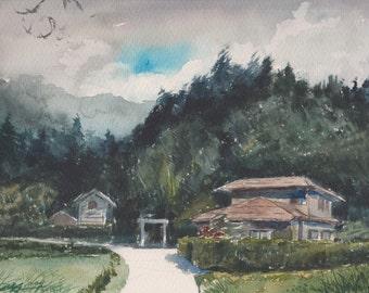 NOON - original watercolor painting 12X9, landscape