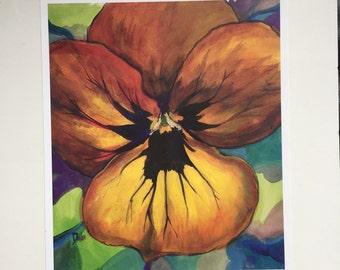 "Original Pansy Flower Art 8.5"" x 10"""