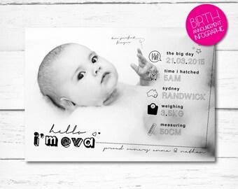 Monochrome Birth Announcement, Infographic, Digital download, Keepsake