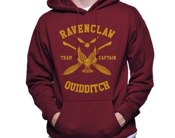 CAPTAIN - Ravenc Quidditch team Captain Yellow print printed on Maroon Hoodie