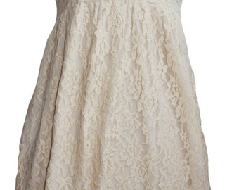 Dress beige lace strapless