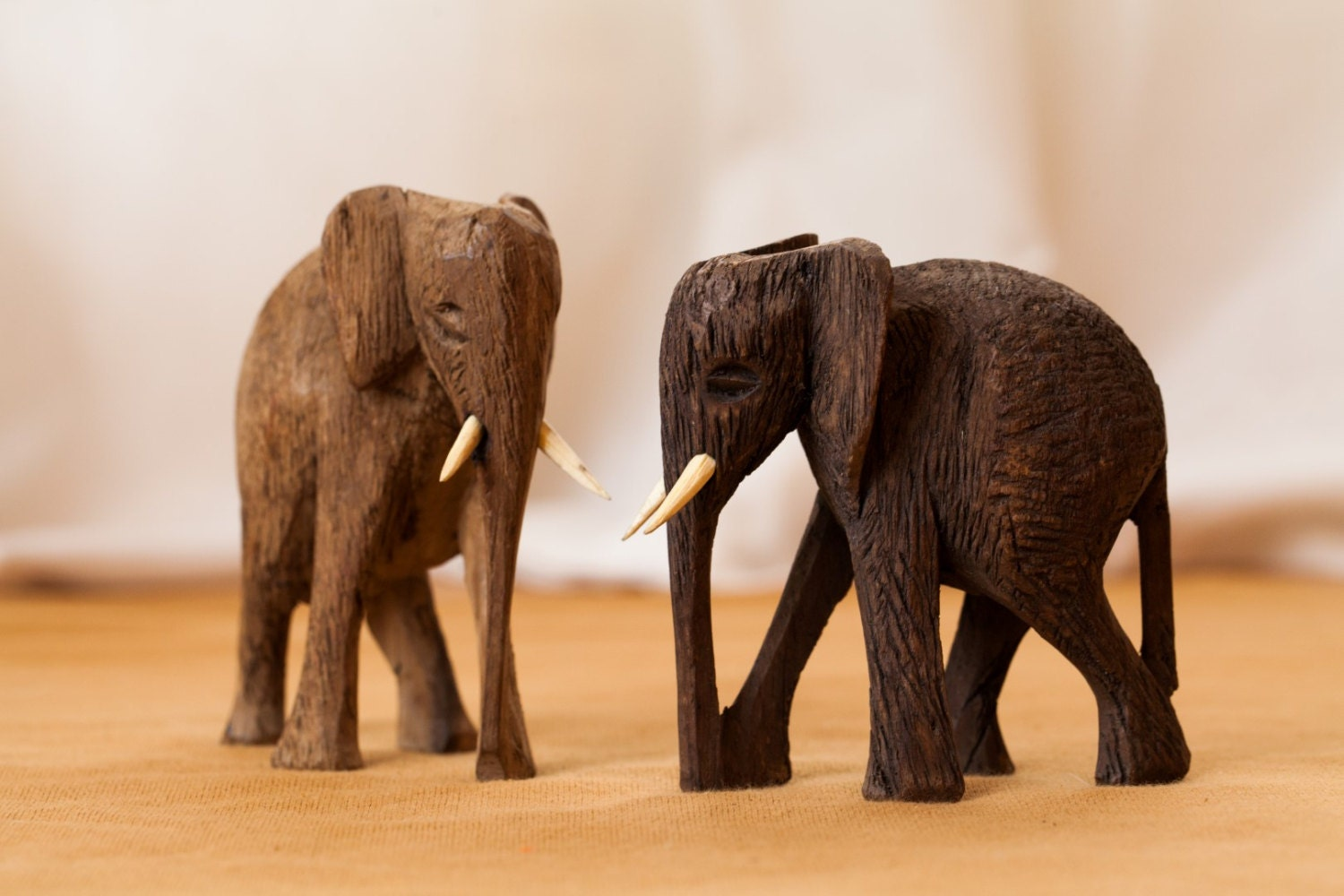 Elephant wood statues african art african decor by africadecor African elephant home decor