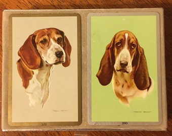 Vintage Congress Beagle and Bassett Hound Playing Cards