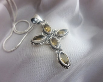 Graceful, Citrine, Cross, Silver Pendant Necklace