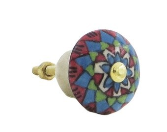 Multi-Colored Spanish Style Decorative Dresser Drawer, Cabinet or Door Knob Pull - M41