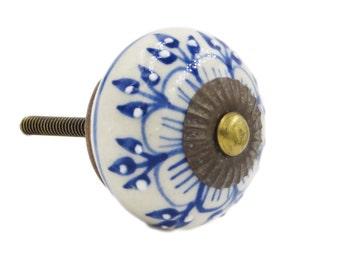 Blue Zinnia Flower Ceramic Knob Pull for Dresser, Cabinet, Drawers, Doors - i1104