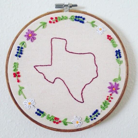 Texas Wild Flower Border Embroidery Hoop Wall Art