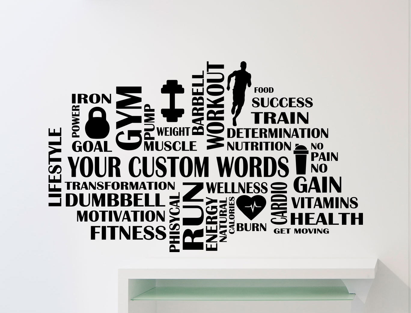 Inspirational Stickers For Walls Custom Fitness Gym Words Cloud Wall Sticker Motivational Sport