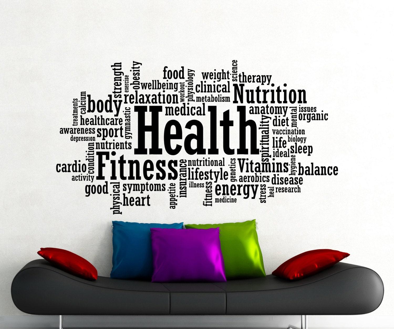 Wall Sticker Mirrors Health Fitness Motivation Word Cloud Wall Sticker Gym Sports