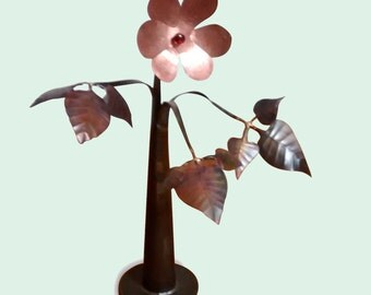 Handmade Mild steel, copper and glass flowered sculpture