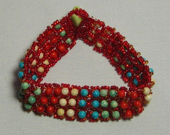 Seed Bead/coloured coral RAW bracelet