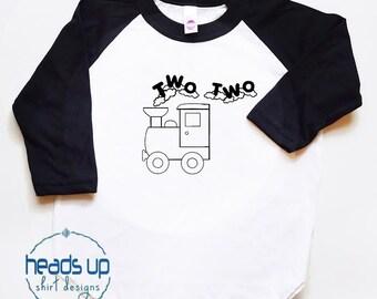 Two Two Train Raglan Toddler Shirt - Two Shirt Toddler Boy/Girl Raglan - Train Bday tshirt - 2nd Birthday Shirt Boy - Trendy Second Bday