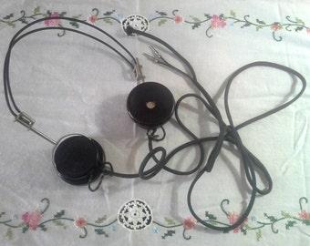 Crystal Radio Headphones: Trimm Dependable Bakelite Audio Head Set Earphones, Vintage 1940s WW2 Era, Libertyville Illinois, FREE SHIPPING