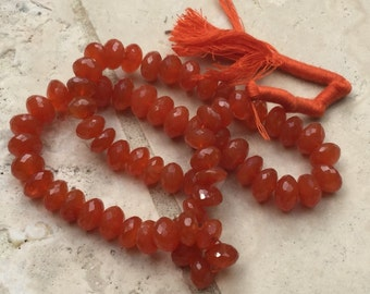 1/2 Strand Faceted Carnelian AA Rondelle Beads