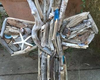 Sold=Driftwood Cross-Blue Seaglass