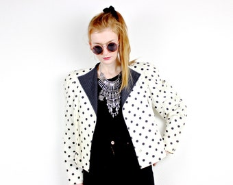 French Vintage 1980s dotted jacket / Black & White Polka dots cropped blazer / Rockabilly 80s  does 50s 60s spring summer / France Size M