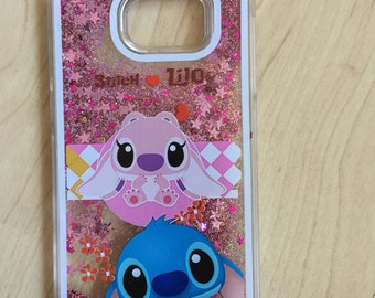 Stitch And Angel Sparkle Liquid Glitter Quicksand Case For Galaxy  S7 Edge Ship from NY