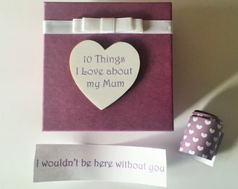 Mum Mummy Mother 10 things I Love about message in a box Personalised Keepsake mothers day Birthday Gift