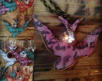 Vintaj Jewelry, Vintaj Necklace, Birds, Patina Metal, Hammered Metal Jewelry, Hand Painted,Embossed Necklace