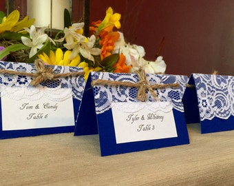 50 Navy and Lace place cards
