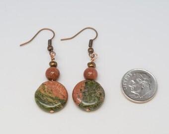 Earrings, Unakite, Goldstone, Copper, Reiki infused, Earrings