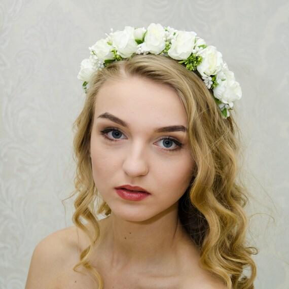 Ivory flower crown / wedding rose headband / ukrainian floral crown / vinok / white flowers crown / made in Ukraine