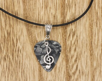 Grey Guitar Pick & Treble Clef Real Black Leather Thong Necklace