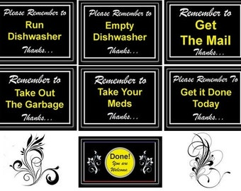 "Practical 7pc 4x3in ""Remember"" Magnets for the Forgetful. Get ""Done"" Magnet Free. Fridge Magnet, School Locker magnets, Office magnets"