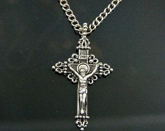 Crucifix Necklace, Crucifix Cross Necklace, Cross Necklace, Jesus Cross Pendant, Religeous Necklace